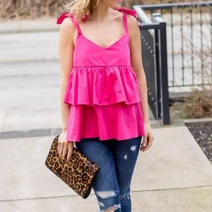 Zara Women's Pink Tiered Tank Ruffle Top